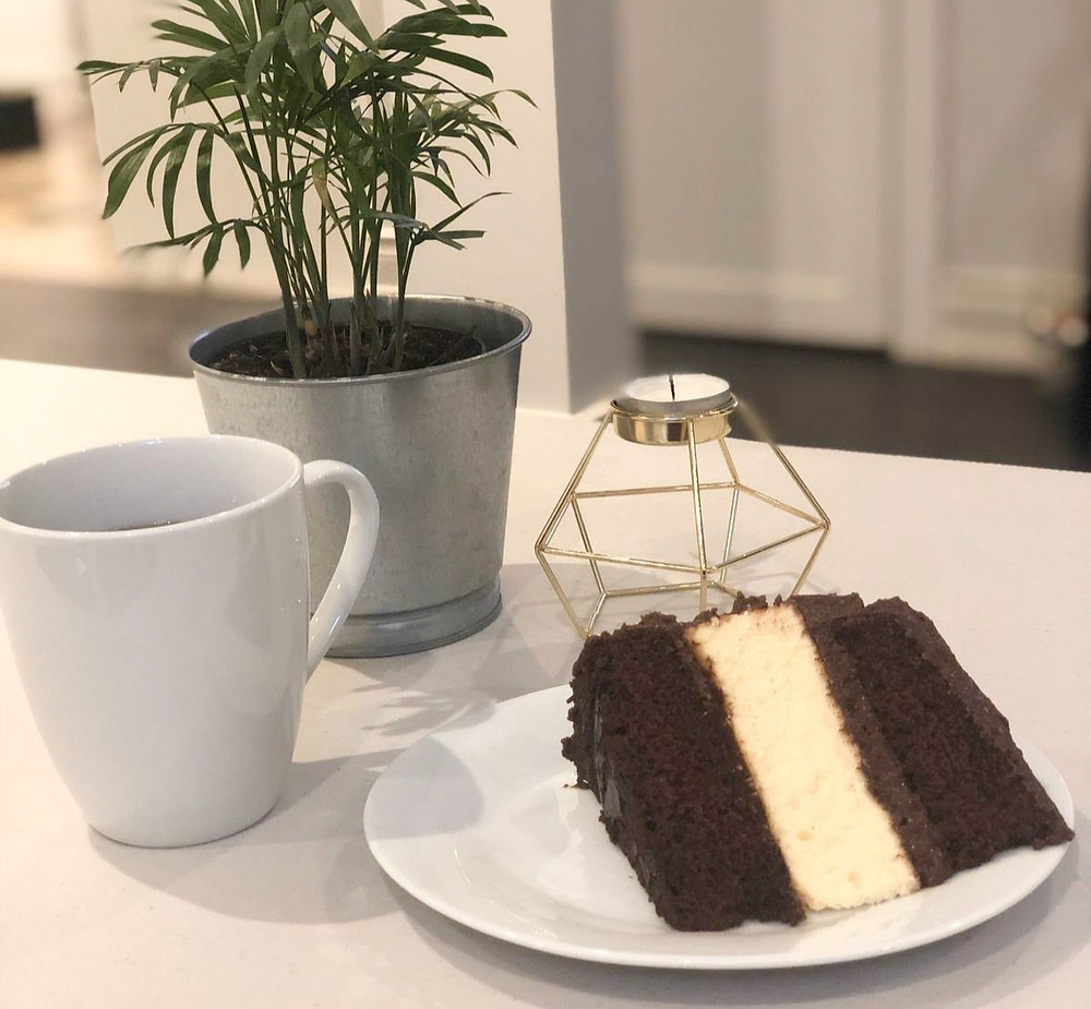 chocolate cake with a cheescake layer in centre. Moist and delicious dessert