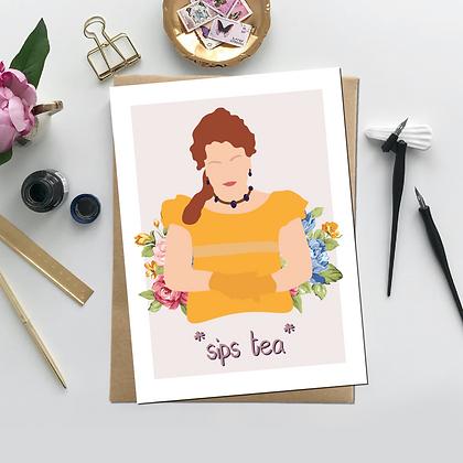 """Sips Tea"" -Greeting Card Inspired by Bridgerton"