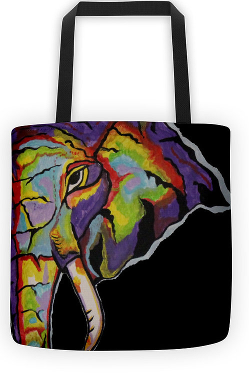Purple Elephant Tote (black background)