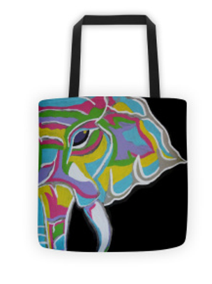 Psycho Elephant Tote (black background)