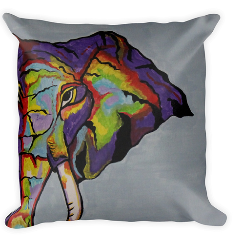 Purple elephant blue background