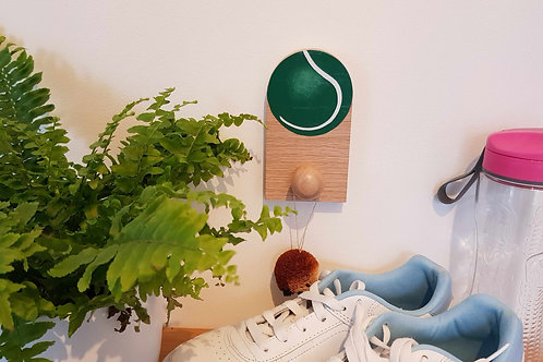 """Hand painted Tennis ball in solid Oak hook by """"Florence Ferne"""""""