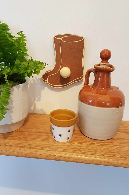 """Hand -cut Wellie shaped hook in hardwood by """"Florence Ferne"""""""