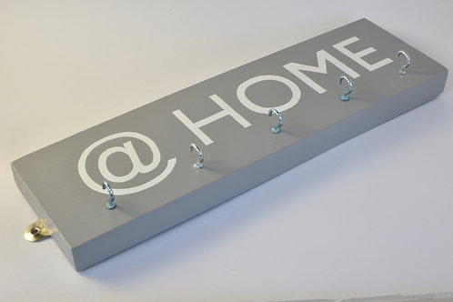"""Key holder contemporary design with hand painted @HOME fitted with five hooks """""""