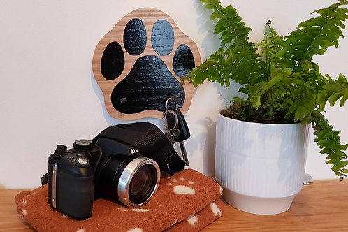 "Hand-cut Paw print hook in solid Oak (3 colour options)  by ""Florence Ferne"""