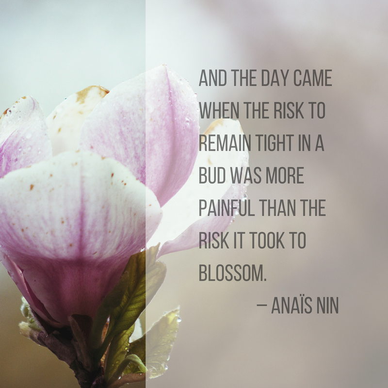 And the day come when the risk to remain tight in a bud was more painful than the risk it took to blossom, Anais Nin quote