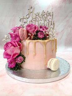 Happy Birthday Floral Drip Cakes