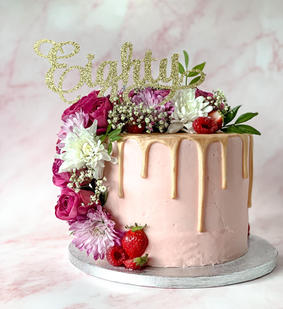 Eighty Floral Drip Cake