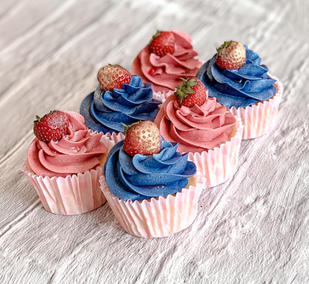 Pink & Blue Strawberry Cupcakes