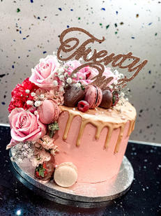 Twenty Floral Drip Cake