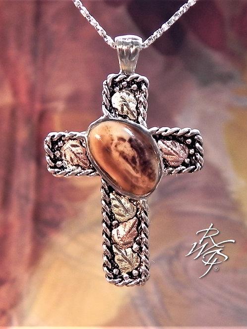 Cross Elk Ivory & Black Hills Gold Pendant