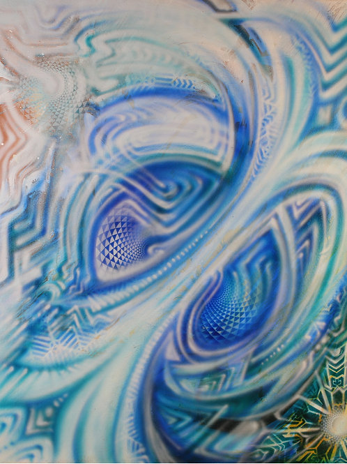 """Blue Spiral"" Original Visionary Art Painting by Clay Chollar"