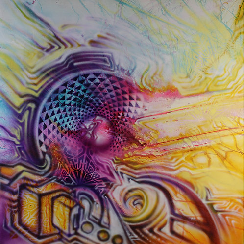 """Fractal Blast"" Original Visionary Art Painting by Clay Chollar"