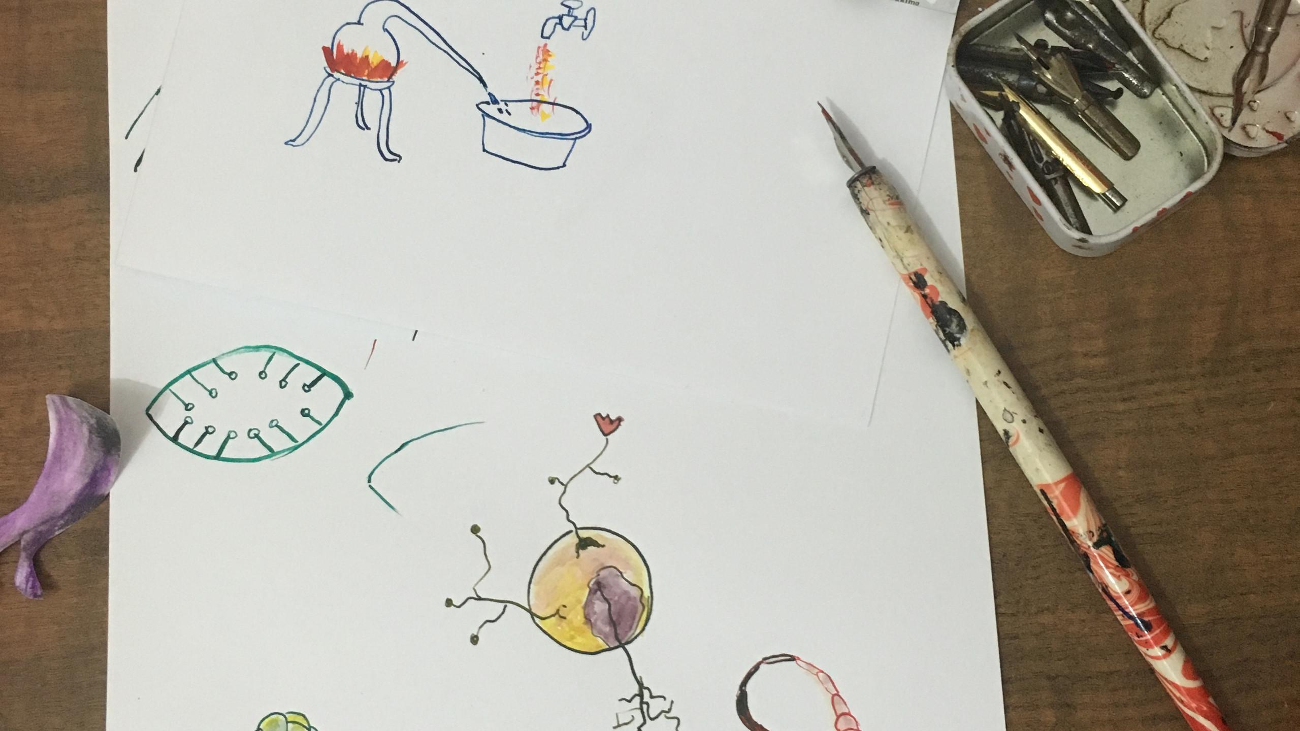 as ilustrações foram inspiradas em desenhos de alquimia e das pinturas de Bosch