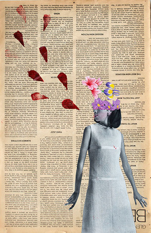 Colagem e xilogravura sobre página de livro  ✂️ Pati Peccin 2015 © ✂️