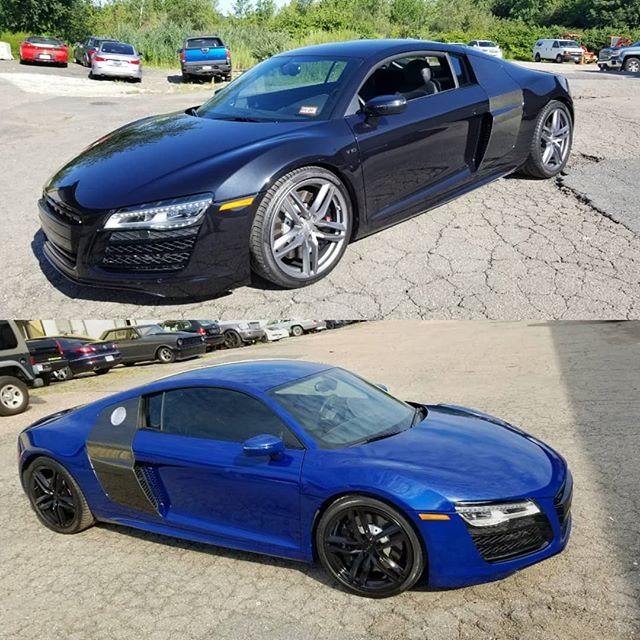 R8 in San Marino Blue with Gloss black wheels