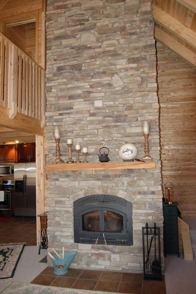 Lake Arthur Log Home Fireplace