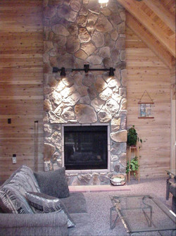 Stone Fireplace in Log Home