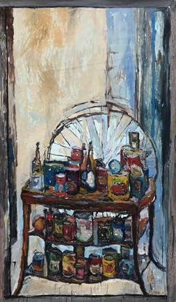 "2020 oil on canvas 65""x35"" 165x89 cm"