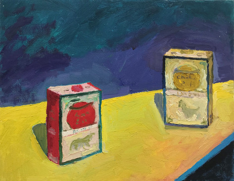 "Six Feet Apart 2020 oil on canvas 11""x14"" 28x35,6 cm"
