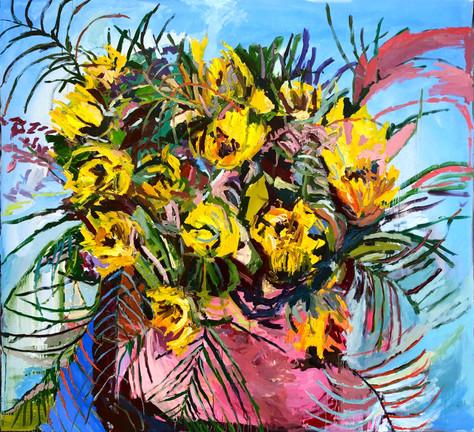 """Sun Flowers 2021 oil on canvas 53""""x55"""" 135x140 cm"""