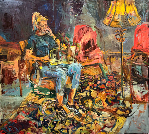 """Working From Home 2021 oil on canvas 53""""x55"""" 135x140 cm"""