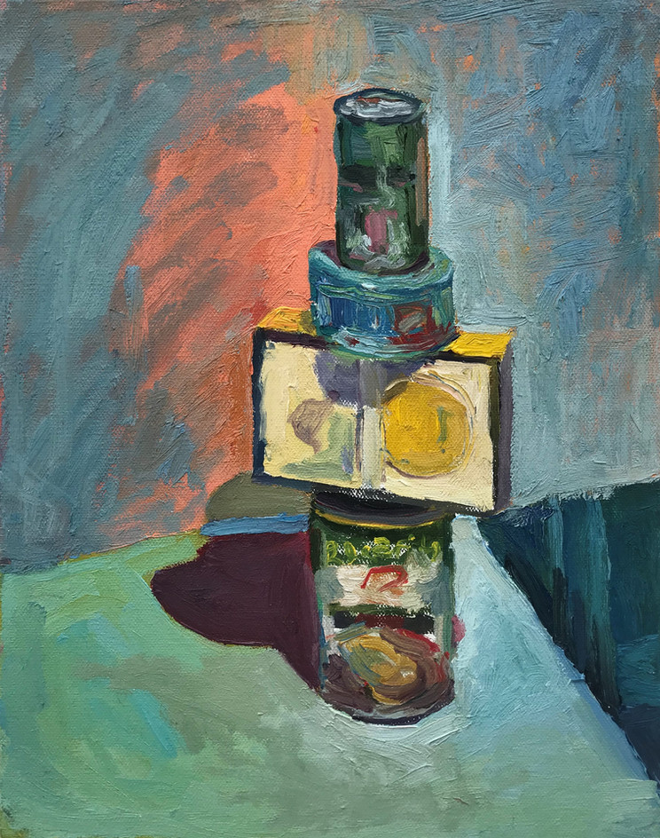 "My Covid Friend 2020 oil on canvas 14""x11"" 35,6x28 cm"