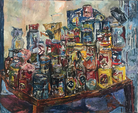 """Do You Think We Can Get More? 2020 oil on canvas 48""""x60"""" 122x153 cm"""