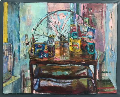"""French Can-Can 2020 oil on canvas 48""""x60"""" 122x153 cm"""