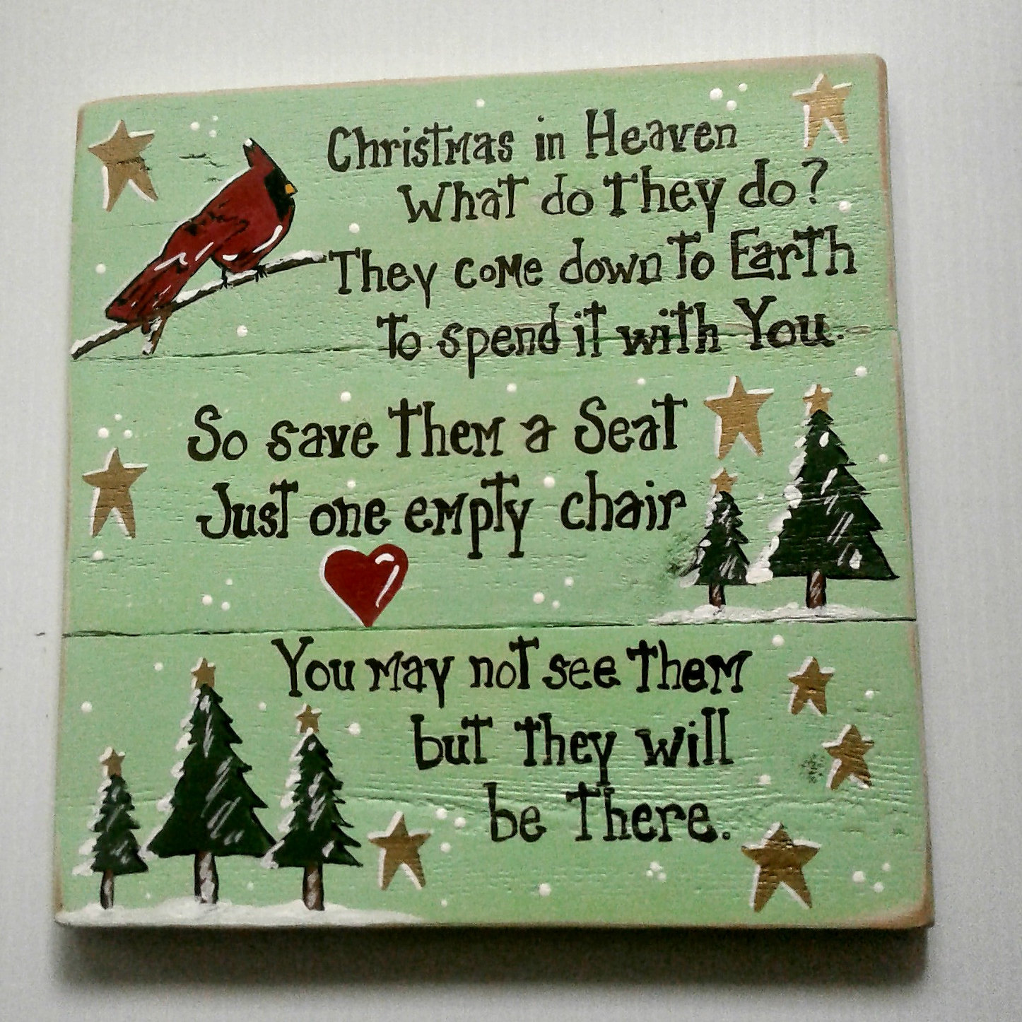 Christmas wooden christmas memories hanging sign sold out - A Christmas In Heaven Wood Sign With A Beautiful Red Cardinal Designed For You To Make New Memories And Traditions For Your Iholidays