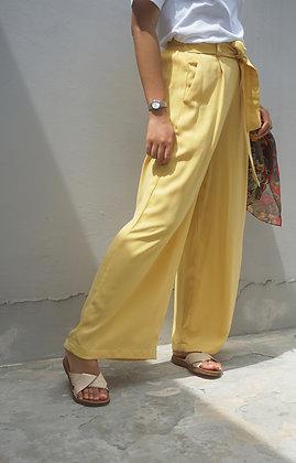 Molly Yellow Crepe Wide-Leg Pants