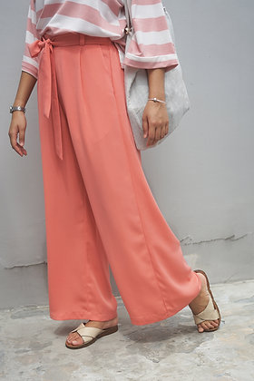 Molly Pink Crepe Wide-Leg Pants
