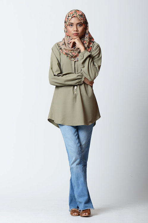 Blouse with Gathers in Sage Green
