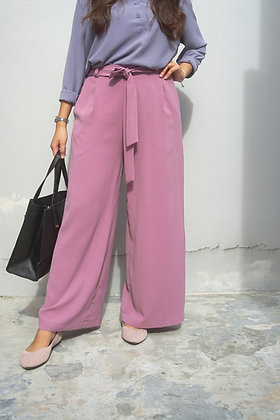 Molly Purple Crepe Wide-Leg Pants