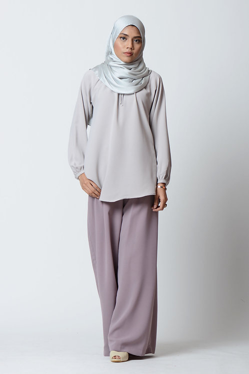 Blouse with Gathers in Glacier Grey