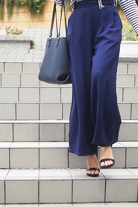 Molly Navy Crepe Wide-Leg Pants