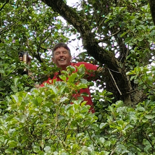 Steve proving he can still climb the trees like the teenagers