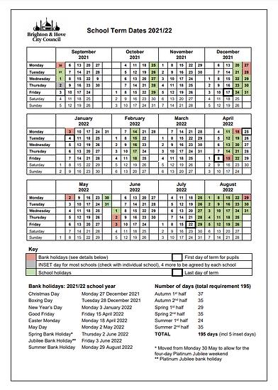 preSchool Term Dates 2022