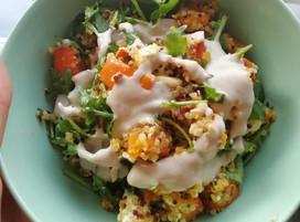 Quinoa-salade met feta en pompoen