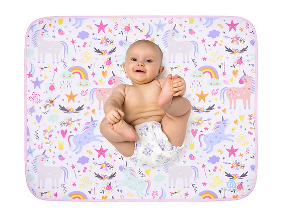 Baby fitting comfortably on SPLASHPAD Large Changing Mat