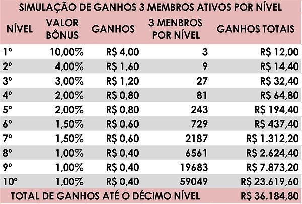 SIMULAÇÃO GANHOS EQUIPE L'AHMORE 3 MEMBR