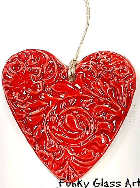 Ceramic Embossed Heart - Red