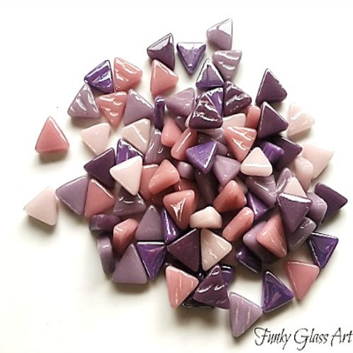 Glass Triangles 10mm - Pansy Mix