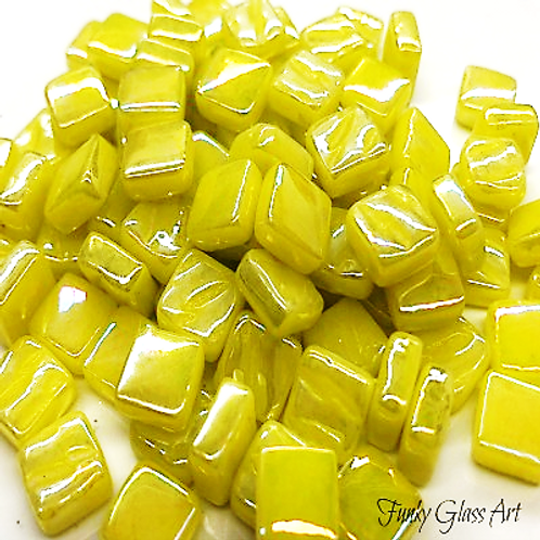 Glass Squares 8x8mm - Pearlised Yellow