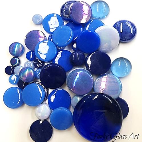 Glass Round Mix - Blues
