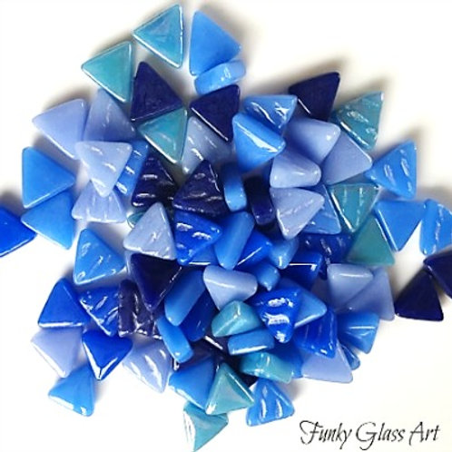 Glass Triangles 10mm - Blue Skies Mix