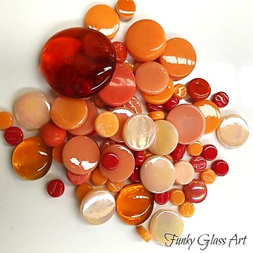 Glass Round Mix - Oranges