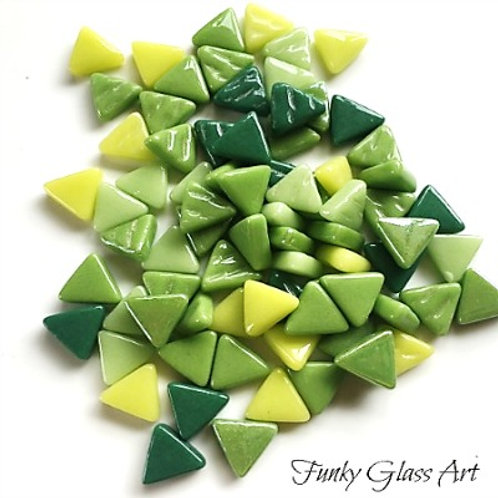 Glass Triangles 10mm - Meadow Mix