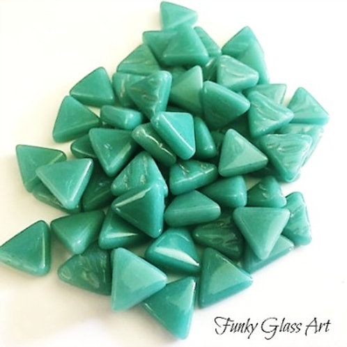 Glass Triangles 10mm - Teal