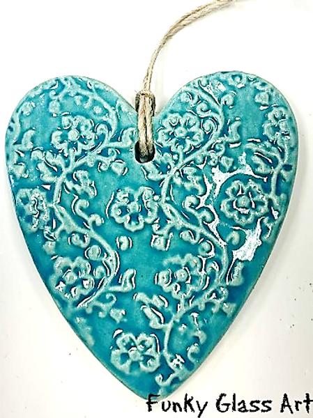 Ceramic Embossed Heart - Aqua